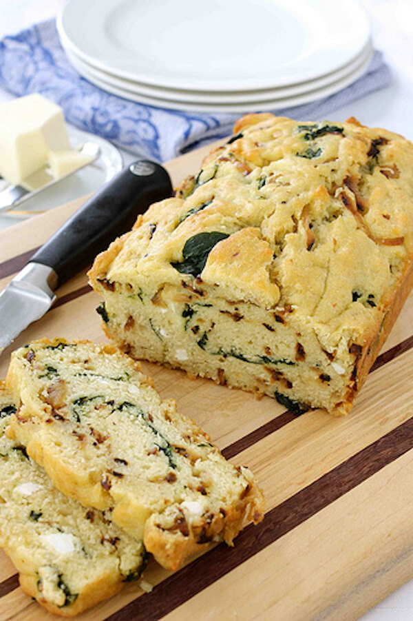 Caramelized Onion & Spinach Quickbread