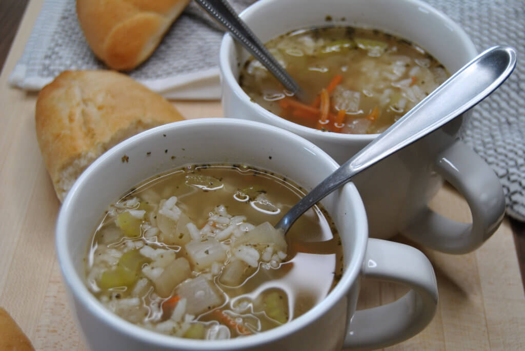 VegetableRiceSoup in mugs
